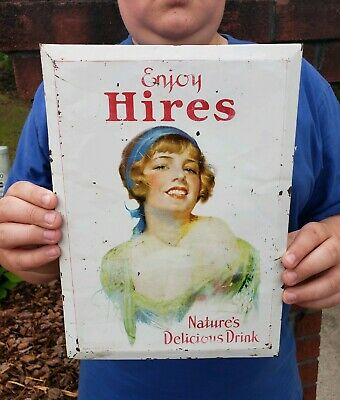 Rare Vintage 1920s Hires Root Beer Girl Soda Gas Station Cardboard Metal Sign