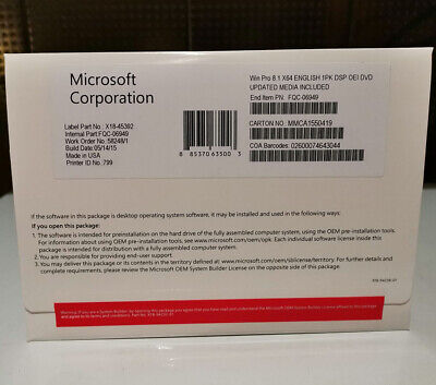 Microsoft windows 8.1 Pro Professional 64 Bit Product Key OEM DVD For 1 PC