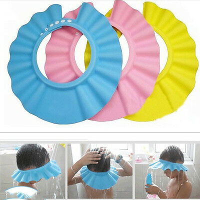 Kid Baby Child Bath Hat Adjustable Soft Waterproof Shield Shampoo Shower Cap*v*p