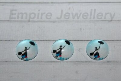 2 x Mary Poppins 12x12mm Glass Cabochons Cameo Magical Nanny