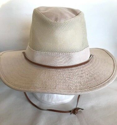 81cfa8a6 Dorfman Pacific Mens Beige Tan Outdoor Mesh Sides Hat Sz Medium Chin Strap