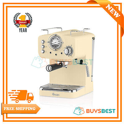 Swan Retro Pump Espresso Coffee Machine In Cream - SK22110CN