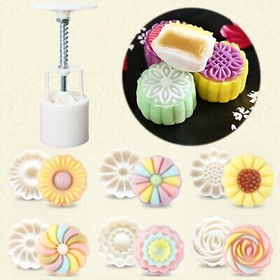 New Round Mooncake Cake Mold Mould 6 Stamps Fower Moon Cake Baking Tools Decor