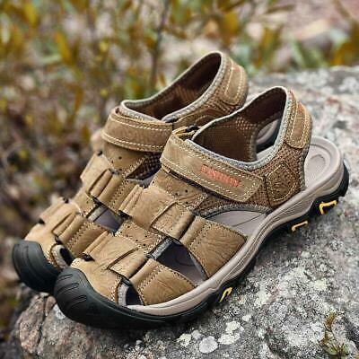 Men's Outdoor Hiking Genuine Leather Sandals Summer Camping Fisherman Shoes top