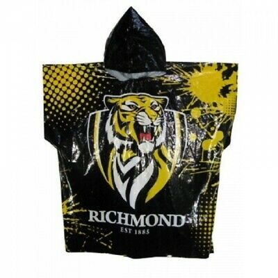Richmond Tigers Official AFL Logo Plastic Poncho Rain Coat with Hood