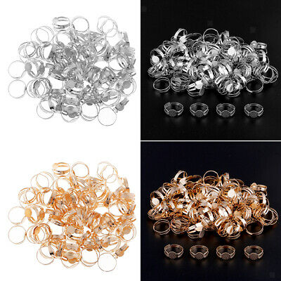200x Adjustable Blank Ring Base Ring Settings DIY Craft Jewelry Findings 8mm