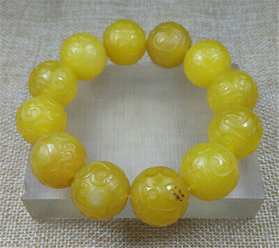 100% Natural YELLOW ancient agate jade beads bracelet 20MM