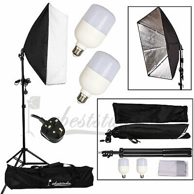 Photography Studio 2x 25W LED Softbox Video Continuous Lighting Light Stand Kit