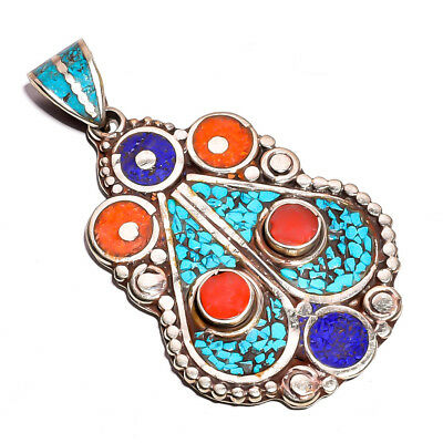 Turquoise Coral Lapis Gemstone Pendant, Tibetan Silver Handcrafted Jewelry TP330