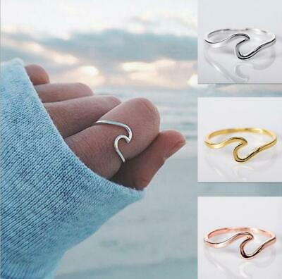 Fashion Newest Seaside Alloy Silver Plated Wave Female Ring Jewelry Size 6-10