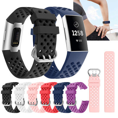Sport Silicone Rubber Band Strap Wristband Bracelet FOR Fitbit CHARGE 3 SE 3rd