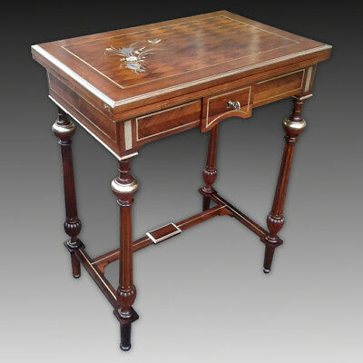 Antique Napoleon III small multifunction Table in rosewood inlaid -19th century
