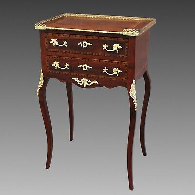 Antique Napoleon III small Table bedside chest of drawer in rosewood inlaid 19th