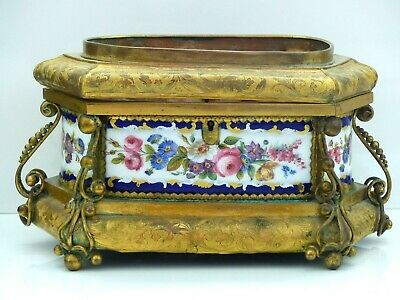 Large Antique 19th Century French Kiln Fired Enamel / Ormolu Table Box / Casket