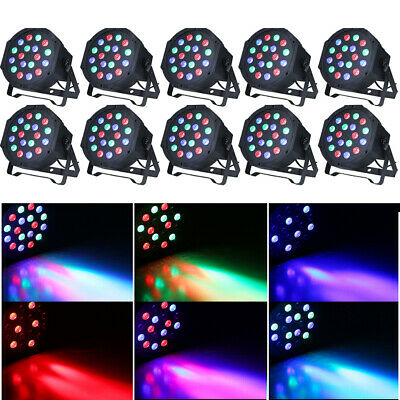 10PCS 18LED PAR Stage DMX Lighting RGB DJ Disco Party Wedding Uplighting R4E8
