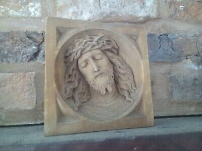 Antique religious Jesus carved wooden icon wall hanging Ecclesiastical rare