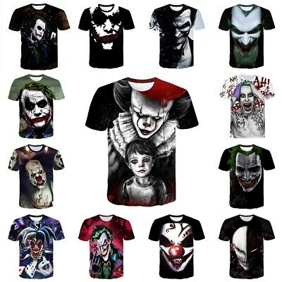 3D T-shirt Stephen King's It Joker Men Cosplay Top Tee Shirts Halloween Costumes