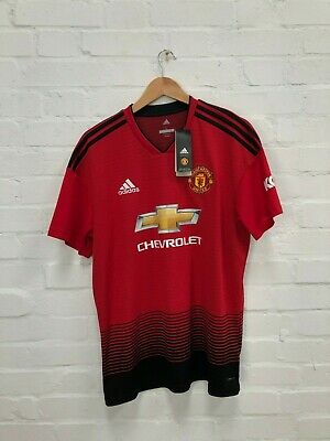 adidas Manchester United FC Men's 2018/19 Home Shirt - Large - Wig 6 - Red -NWD