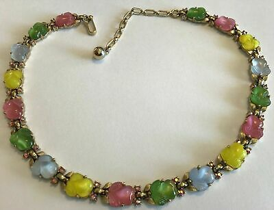 Rare Vintage Crown Trifari Molded Fruit Salad Rhinestone Necklace
