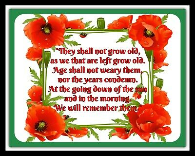 They Shall Not Grow Old Poem Remembrance Day Poppy Metal Plaque Tin Sign R67