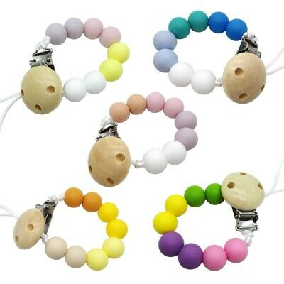 2pcs Pacifier Teething Silicone Baby Teether Chain Clip Bead Dummy Holders UK