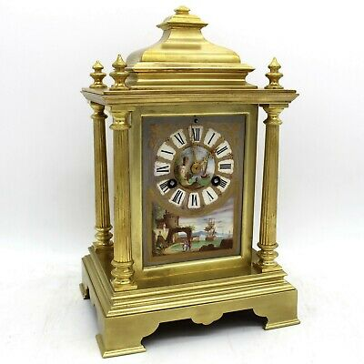 Antique Napoleon III Pendulum mantel Clock ormolu Bronze painted Porcelain 19th