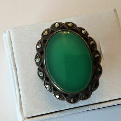 Vintage Art Deco Uncas Signed Sterling Silver Chrysoprase & Marcasite Ring