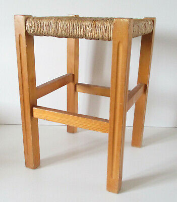 Design Tabouret Bois Paille Chalet Perriand Ancien Charlotte YDE9H2WI