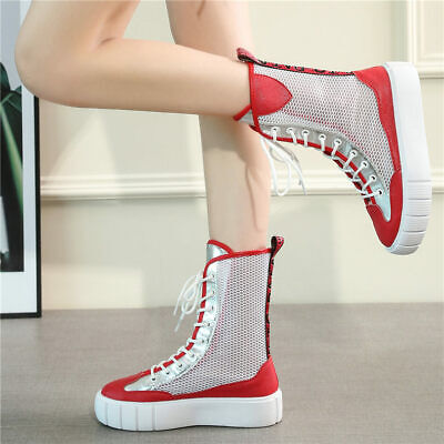 Women's Lace Up Hi Top Fashion Leather Sneaker Sport Sandals Punk Creepers Boots