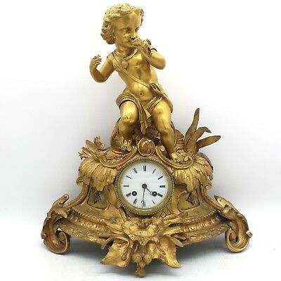 Antique Louis Philippe Pendulum mantel Clock ormolu in Bronze - 19th century