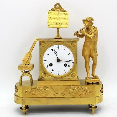 Antique Empire Pendulum mantel Clock ormolu in Bronze - 19th century