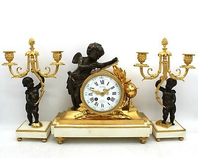 Antique Napoleon III Pendulum mantel Clock ormolu with Candlesticks Bronze 19th