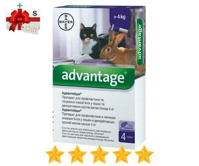 Bayer Advantage Flea Control for Cats Over 4 kg (9lbs) 4 Tubes - Made in Germany