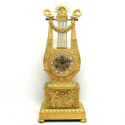 "Antique Empire ""Lyre"" Pendulum mantel Clock ormolu in Bronze - 19th century"
