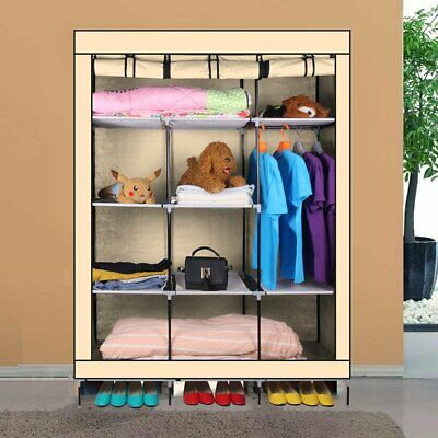 Triple Canvas Wardrobe Clothes Hanging Rail Shelves Storage Shelf Cupboard Beige