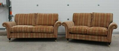 Parker Knoll, Burghley, Pair Of Large 2 & 2 Seater Sofas In Baslow Stripe Fabric