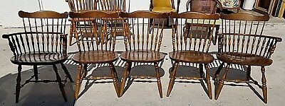 6 Vtg Colonial Windsor Farmhouse Nichols Stone? Style Dining Chairs 2 Arm 4 Side