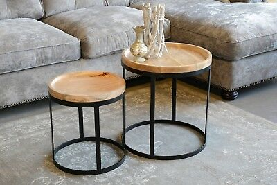 Set of Two Coffee Tables Duncan 2 round Mango Wood Metal Table Sofa