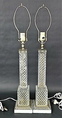 Antique Pair of Italian Glass/Crystal + Brass Hansen? Table Lamps