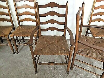 Set of 6 Antique Vtg Ladder Back Chairs With Rush Seats in Walnut