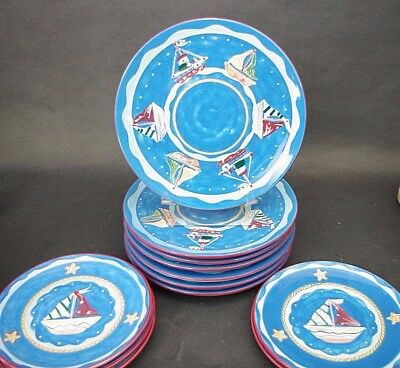 12 pc ND China Hand Painted Plates Set Sail Boats Nautical Beach House