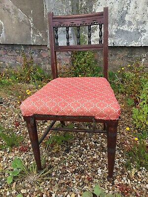 19-20th c Small Country Occasional Chair - FABRIC seat -needs TLC / restoration