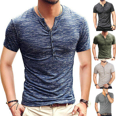 UK Mens Short Sleeve Plain Tops Muscle Tee Casual V-neck Buttons T Shirt Blouse