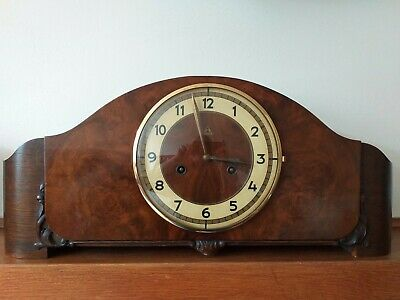 LARGE Art deco Junghans Mantel Clock In oak and walnut Excellent condition.