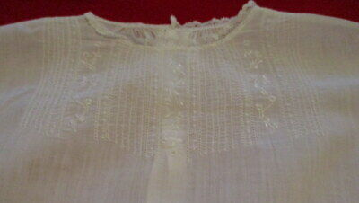 Vintage White Cotton Embroidered, Lace, &  Pin-tucked Dress by ISABEL INFANT VGC