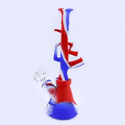"Silicone TOBACCO Smoking Hookah Water Pipe Beaker Bong 11.5"" AK-47 Machine Gun"