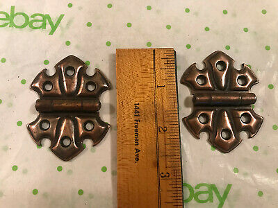 "2 Clean Old 2 1/2"" Fleur de lis Cabinet Hinges, Steel with Copper Wash Finish"
