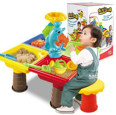 Kids Outdoor Beach Garden Sandpit Toy Set Sand & Water Table Watering Can Spade