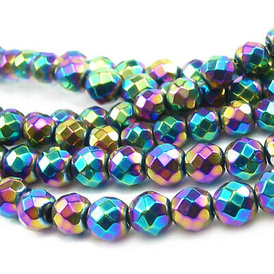 Hematite (Non Magnetic) Faceted Round Beads 10mm Rainbow 38+ Pcs DIY Jewellery