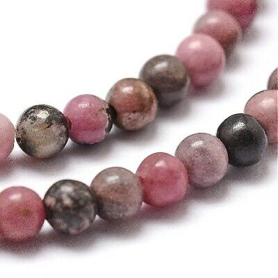 Rhodonite Round Beads 6mm Pink/Black 55+ Pcs Gemstones Jewellery Making Crafts